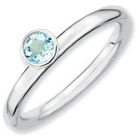 0.23ct Silver Stackable High Round Aquamarine Ring. Sizes 5-10 Available