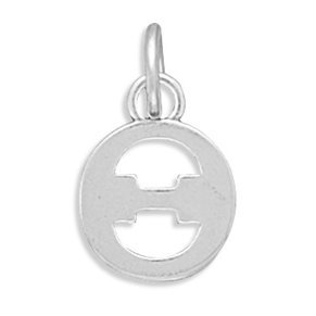Greek Alphabet Letter Theta Charm Sterling Silver - Made in the USA