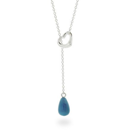 Turquoise Drop Sterling Silver Heart Lariat