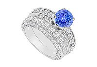 14K White Gold Tanzanite and Diamond Engagement Ring with Wedding Band Set 3.50 CT TGW MADE IN USA