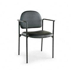 Stacking Guest Chair, PVC-Free Faux Leather, Black