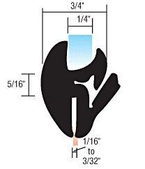 C.R. LAURENCE 10231 CRL One-Piece Self-Sealing Universal Weatherstrip 1/32 to 3/32 Panel - 1/4 Glass метчики 1 4 32