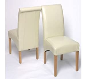 Chelsea Faux Leather Cream Dining Chairs Scroll Top