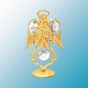 24K Gold Plated Guardian Angel W/ Cross Free Standing - Clear - Swarovski Crystal