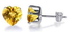 TDEZ2180-Y Nickel Free Sterling Silver 4mm Heart Citrine Cubic Zirconia Post Back Stud Earrings