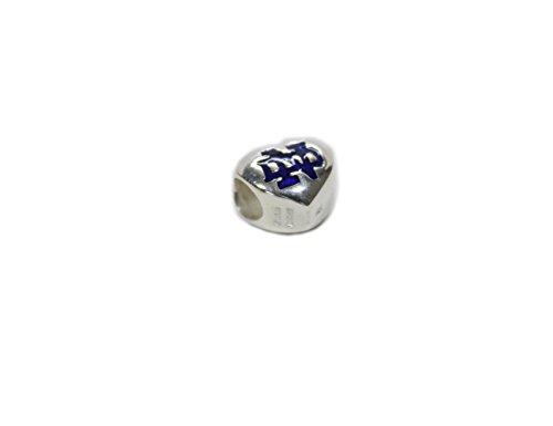 Heart Bead Notre Dame Logo Silver & Blue Enamel