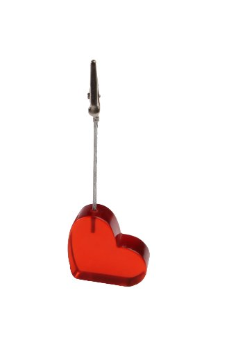 Displays2go Alligator Clip Memo Holders with Heart-Shaped Base for Photos, Table Numbers and Notes, Red Plastic (ALIHRTRED)