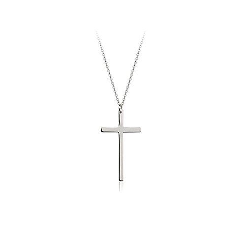 """Simple Smooth Cross Pendant Necklace Fashion Jewelry 18"""" (Platinum Plated)"""