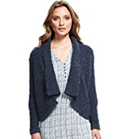 Indigo Collection Open Front Bouclé Cardigan with Mohair