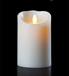 Luminara 5 Inch White Flameless Wax Candle - Unscented With Timer