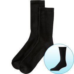 New Trademark Breathable Cotton Crew Socks Size 10-13 Black 1 Pair Great With Dress Or Casual Attire