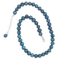 Extension Teal Cultured Freshwater Pearl Knotted Necklace, Sterling Silver