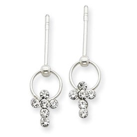 Sterling Silver CZ Cross Post Earrings Dangling from Tiny Hoops