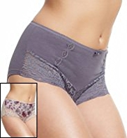2 Pack Per Una Cotton Rich Ornate Lace Shorts
