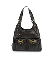 M&S Collection Leather Bar Tab Hobo Bag