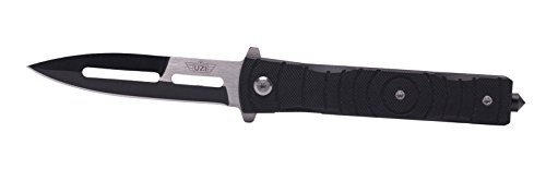 UZI UZK-FDR-014 Mossad III Folding Knife with Straight Edge Stainless Steel Blade/G10 Handle and Metal Clip, Black