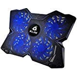 ?? KLIM Wind Laptop Cooling Pad - Support 11 to 19 Inches Laptops, PS4 - [ 4 Fans ] - Light, Quiet Rapid Cooling Action - Ergonomic Ventilated Support - Gamer USB Slim Portable PC Gaming Stand (Blue) (Color: Blue)