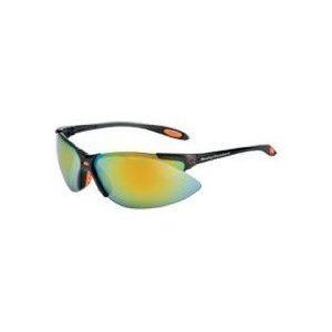 Harley-Davidson HD1202 Safety Glasses with Black Frame and Orange Mirror Hardcoat Lens