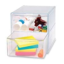 Clear,Sparco 6 x 6 x 6 Inches,Storage Organizer With 2 Drawers