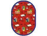 "Joy Carpets Kid Essentials Language & Literacy Oval Spanish Bookworm Rug, Red, 10'9"" x 13'2"""