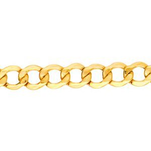 14K Solid Yellow Gold Curb Lite Chain Necklace 4.4mm thick 20 Inches