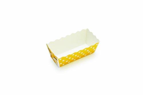 Welcome Home Brands T70113BX Festive Rectangular Mini Loaf Baking Pans, Yellow Polka Dot