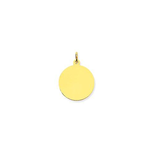 10k Yellow Gold Plain .013 Gauge Circular Engravable Disc Charm (19x25 mm)