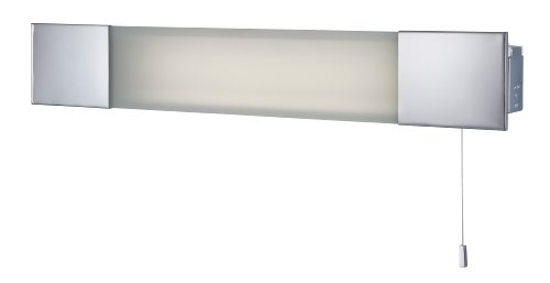 Firstlight 1 x 24 Watt PL-L Ip44 Low Energy Over Mirror Light and Shaver Socket Chrome with Frosted Glass