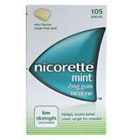Nicorette Low Strength Nicotine Gum 2Mg Mint Flavour 105 pieces