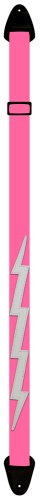 Perri'S Nylon Guitar Straps - Pink With Lightning