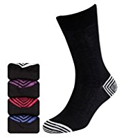 4 Pairs of Autograph Modal Blend Contrast Striped Heel & Toe Socks