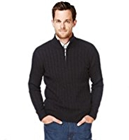2in Longer Blue Harbour Pure Cotton Cable Knit Half Zip Jumper