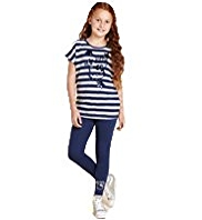 Hello Kitty Cotton Rich Striped T-Shirt & Leggings Outfit