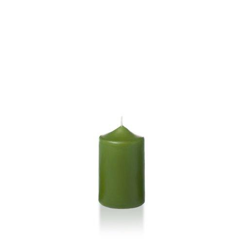 "Yummi 2.25"" X 3"" Green Tea Slim Round Pillar Candles - 4 Per Pack"