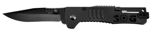 Sog Specialty Knives & Tools Sj32-Cp Slimjim Knife With Straight Edge Assisted Folding 3.18-Inch Steel Blade And Bead Blasted Handle, Black Finish front-956479