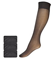 3 Pairs of 15 Denier Ladder Resist Shine Knee Highs