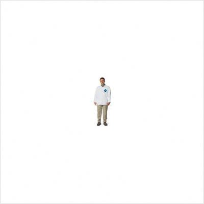 Large White Tyvek Long Sleeve Shirt With Collar And 4 Snap Front (50 Per Case)