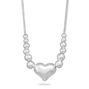 Puffed Heart and Slide-on Bead Snake Chain Necklace Sterling Silver