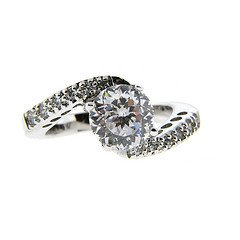 Sterling Silver Twisted CZ Engagement Ring Size#7