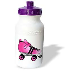 Janna Salak Designs Roller Derby - Skating Gifts - Pink and Black Roller Skate - Water Bottles