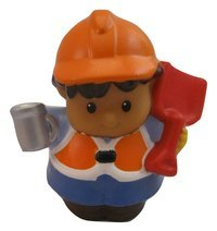 Fisher Price Little People Construction, Demolition Worker, Builder, Quarry Play set Figure Roberto, Coffee Mug & Shovel In Hands, Orange & White Vest, OOP 2008 - 1