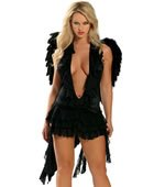 Sexy Black Angel Costume with Wings One Size (Fits Most Small / Medium)