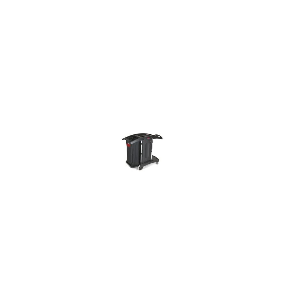 RUBBERMAID COMMERCIAL PRODUCTS JANITOR CART 48.25X22X44 W/ YELLOW 30 QT BINS BLACK (NON UPSable)