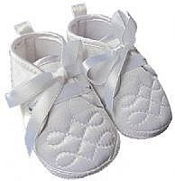 Beautiful White Satin Baby Boys Christening Shoes / Booties