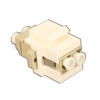 White Fiber Optic Keystone Insert with LC Adapter Multimode Duplex