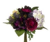 Allstate FBQ376-BT-EP 11 in. Rose-Hydrangea Bouquet Beauty-Eggplant- Pack of 6