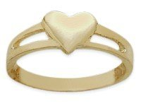 10 Karat Yellow Gold High Polish Heart Baby Ring