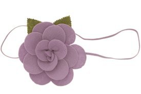 Baby Flower Headband. Stretchy for Infant, Toddler, Girl. Skinny Headband. Felt Rose Allie Tropical Lilac.