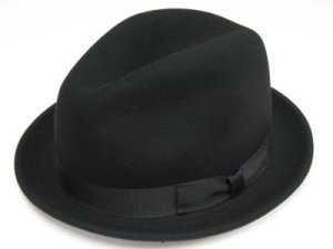 (ニューヨークハット)NEW YORK HAT ライトフェルト中折れハット NY5325-STINGY FEDORA ブラック 63cm(XXL)