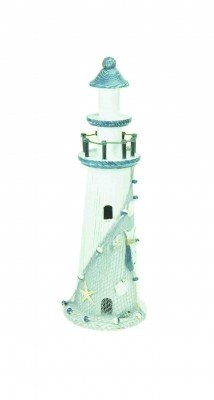 Lighthouse Decoration - White & Blue Wood - 22cm